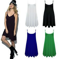 Sexy Women Camisole Long Tank Top Candy Color Strap Basic Slip Mini Skater Dress
