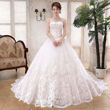 Hot White/Ivory Lace Bridal Gown Wedding Dress Custom Size:6/8/10/12/14/16/18++