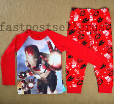 IRON MAN AVENGER HERO Cotton Boys Toddler Kids Pajamas Pyjamas Sleepwear Set 1-6