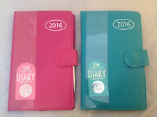 2016 Leather Slim Size Diary Week To View personal Organiser Address Book & Pen