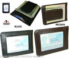 Mens Women's Cowhide Leather Money Clip Wallet Credit Card ID Holder Pocket Case