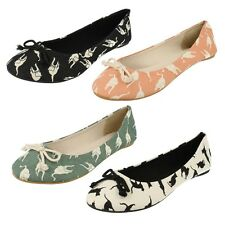 £2.99 LADIES SPOT ON CANVAS CAT PRINT BALLERINA DOLLY SHOES WITH BOW F8802