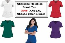 Cherokee Pro Flexible 2968 Sporty V-Neck Knit Panel Scrub Top CHZ Siz/color NWT