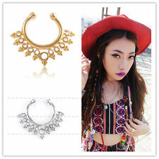 Hollow Gem Septum Non Piercing Hoop Clip on Nose Jewerly Ring clicker Fashion