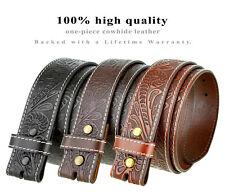 "BS118 - Western Floral Engraved Tooled Leather Belt Strap, 1-1/2"" Wide"