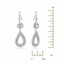 Women Ladies SILVER Filled Long Dangle Hollow Drop Crystal Earrings USGM121 Z1