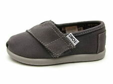 TOMS Ash Tiny Grey Classic Canvas Slip On Toddler's Sneakers Sz5-8M 6-10ss