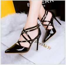 Women High Heels Shoes Sexy Pointed toe Criss Cross Strappy Gladiator Sandals