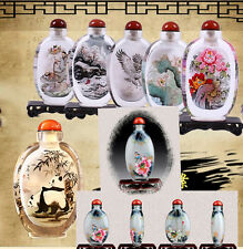 Colletibles Chinese Handmade Synthetic Crystal Interior Painting Snuff Bottle