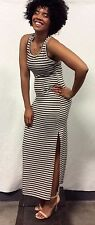 Grey White Striped Racerback Jersey Long Maxi Summer Dress Slitted S M L XL