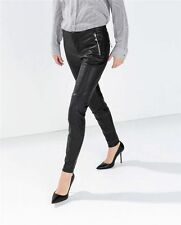 ZARA BLACK FAUX LEATHER TROUSERS WITH KNEE PATCH - NEW WITH TAGS!!