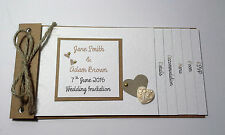 Handmade Wedding VINTAGE LOVE HEART cheque book Invitations :60 colours: any qty