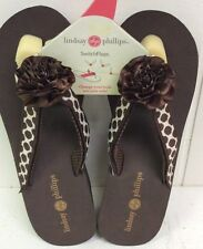 Lindsay Phillips Belle Brown Classic Wedge Shoes Sandal New With Original Tag