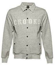 Crooks and Castles Mens Knit Collenglish Baseball Jacket Speckled Grey White