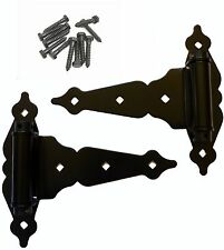 "SELF CLOSING Wood Fence T-STRAP GATE HINGES: 2 T-Hinges ~ 8"" Ornamental Hinges"
