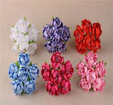 Wedding Satin Cloth Fabric Flowers 6pcs Colourfast Artificial Rose Bride Bouquet