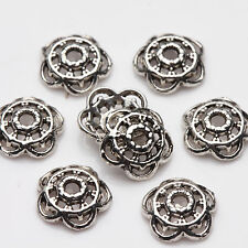 100/200pcs Chic Tibet Silver Metal Loose Spacer Bead Caps Jewelry Finding 8mm