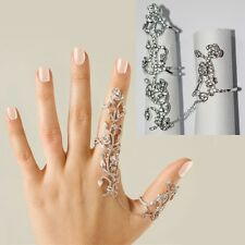 Fashion Charm Rhinestone 2 Full Finger Armor Joint Knuckle Hollow Ring JEWELRY
