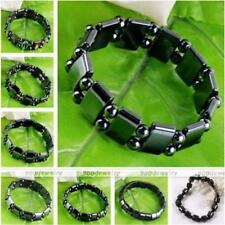 Mens Hematite Metal Magnetic Therapy Rectangle Round Beads Bracelet Bangle Cuff