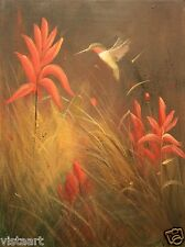 "High Quality Oil Painting on Stretched Canvas 12x16"" - Delightful Hummingbird"