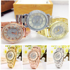 Women Men Stainless Steel Quartz Wrist Watch Unisex Crystal Diamond Watches HOT