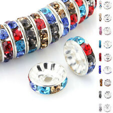 8mm 50/100Pcs Silver Plated Czech Crystal Spacer Rondelle Beads Charm Findings