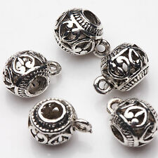10/20Pcs Tibetan Silver Heart Carving Spacer Beads Jewelry Making Craft 11x8mm
