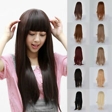 55~60cm Women Half Head Synthetic Long Straight Hair Clip in Extension 10Color #