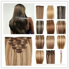 All Size Mixed Color Straight Clip In Real Remy Human Hair Extensions Full head