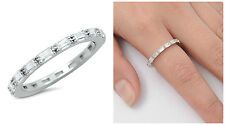 Sterling Silver 925 STACKABLE ETERNITY ANNIVERSARY CZ BAND RING 2MM SIZES 4-10