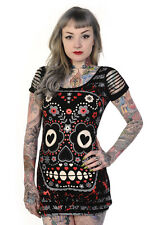 Banned Sugar Candy Skull Tunic Dress stretch Top Goth Punk Rock Size 10 12 14