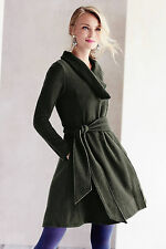 Anthropologie Shawled Wool Sweatercoat Size S, Moss Green Boiled Wool By Sparrow