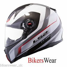 LS2 FF396 FT2 Forza R White / Red Motorcycle Helmet Pinlock Included