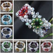 Womens Colorful Faceted Crystal Glass Beads Flower Bangle Bracelet Gift Stretchy