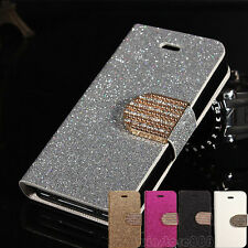 Luxury Leather Magnetic Flip Bling Wallet Cover Case W/Stand For iPhone/Samsung