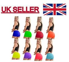 Ladies Girls Neon Lycra Stretchey Hot Pants Shorts Dance Fancy Dress Party