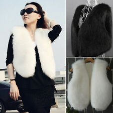 1x Womens Faux Fur Vest Winter Warm Short Outerwear Coat Jacket Waistcoat IUK
