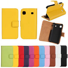 Genuine Leather Stand Wallet Case Cover Skin For Samsung Galaxy S i9000 S1 i9008