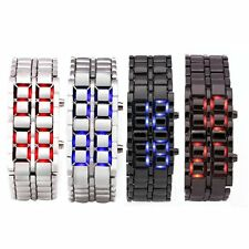 Men Womens Lava Samurai Iron Watch LED Digital Faceless Bracelet Wristwatch H86