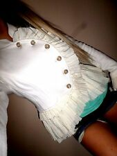 Free People white,ivory Military Style Ruffle Trim Sweater Jacket euc 6