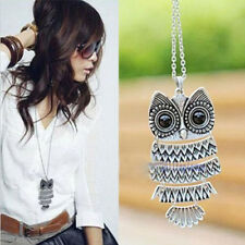 Women Fashion Vintage Style Bronze Owl Long Chain Necklace Pendant Jewelry Gift