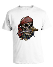 Pirate Skull Knife in Mouth T-Shirt, D-4087