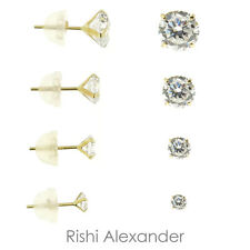 14kt Gold Round Cubic Zirconia Clear CZ Prong Set Stud Earrings