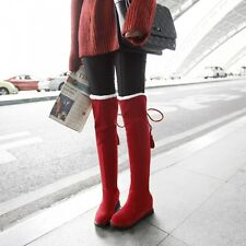 College style Womens Sweet Furry Fur Hidden Heel Knee High Snow Boots