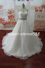 New White /Ivory  Wedding Dress Bridal Gown Ball STOCK Size 6 8 10 12 14 16