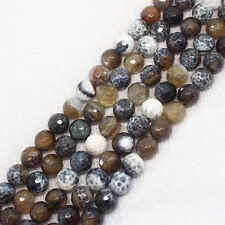 "Faceted Fire Agate 6-14mm Round Loose Beads 15"" (ag344)"