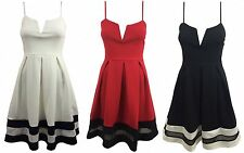 NEW WOMENS LADIES STRAPPY V NECK CUT PLEATED FLARE MESH PANEL SKATER PARTY DRESS