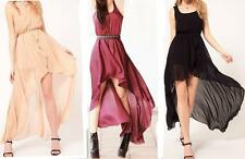 C030 Hot Women's Sexy Sleeveless Irregular Chiffon Skirt 3 Colors Long Dress