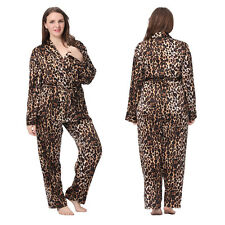 Lilysilk 2pcs Womens Silk Pajamas Set Sexy Leopard Printed Homewear Plus Sz