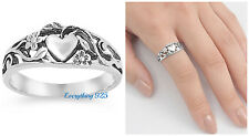 Sterling Silver 925 PRETTY HEART DESIGN WITH PLUMERIA FLOWER RING SIZES 5-9